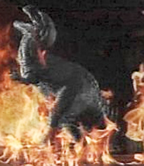 Gwangi the dinosaur among the flames