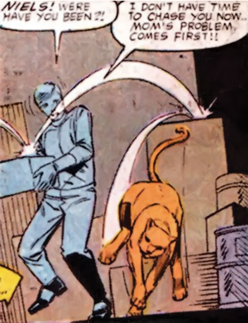 Niels the Cat (Speedball character) (Marvel Comics) running and bouncing around
