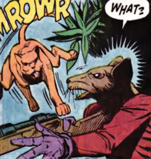 Niels the Cat (Speedball character) (Marvel Comics) foils a sniper with a rat mask