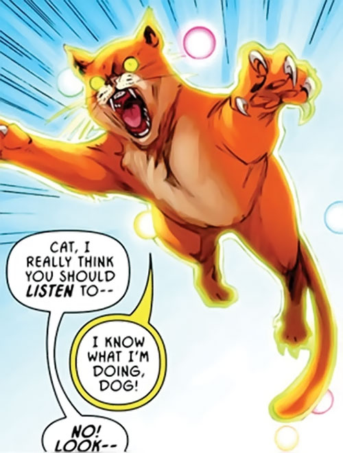 Hairball of the Pet Avengers (Marvel Comics) jumping into action