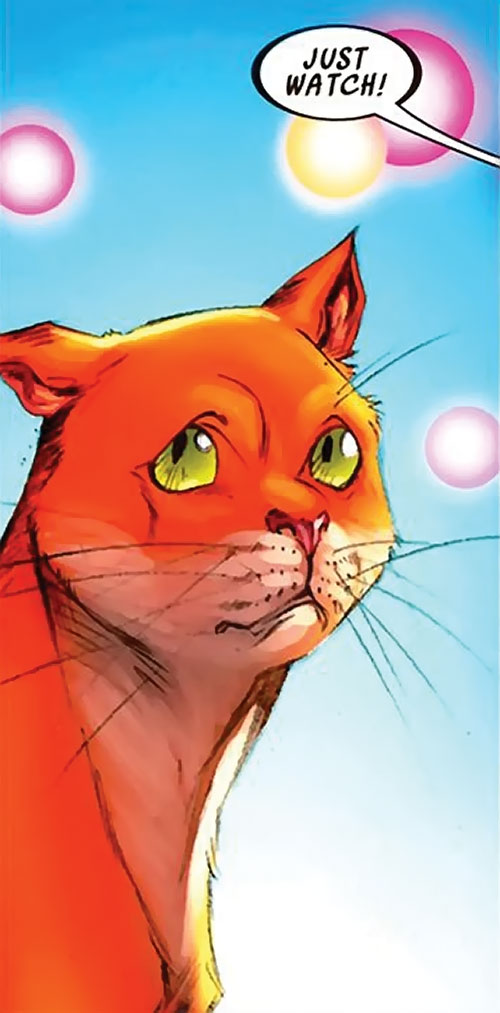 Hairball of the Pet Avengers (Marvel Comics) rolling his eyes