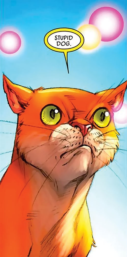 Hairball of the Pet Avengers (Marvel Comics) frowning