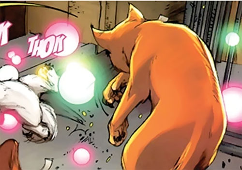 Hairball of the Pet Avengers (Marvel Comics) emitting kinetic force bubbles