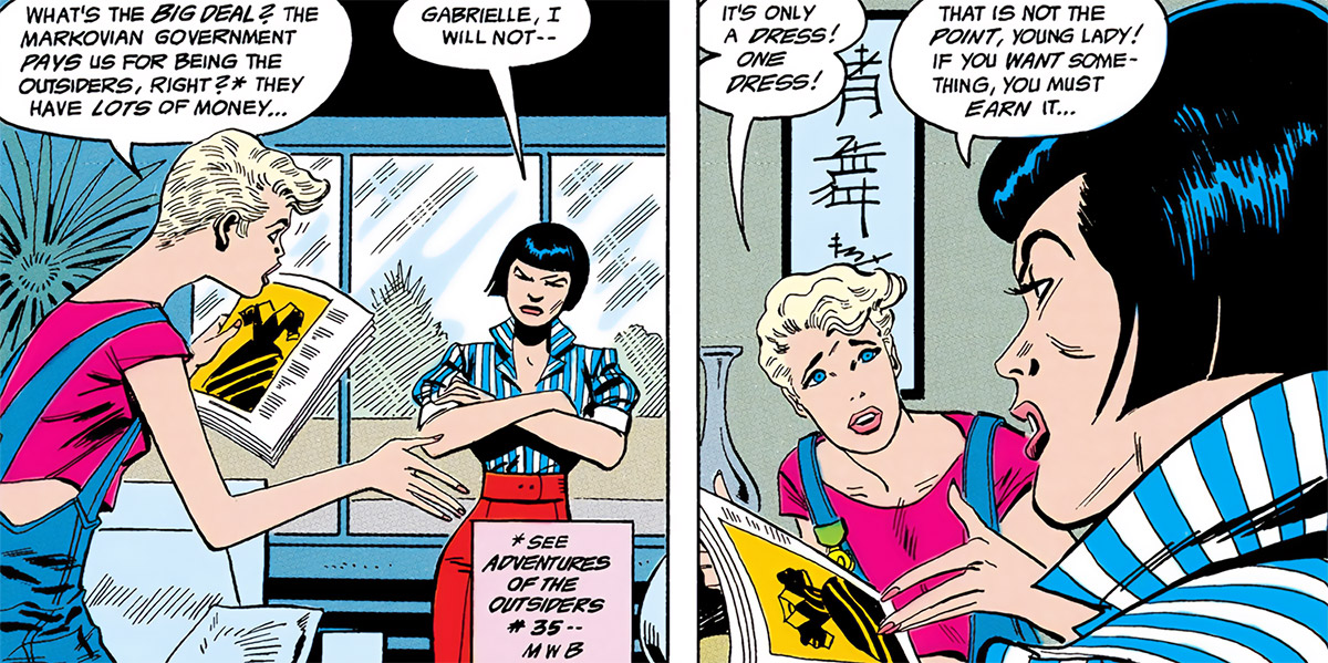 Halo (DC Comics) (Gabrielle Doe) (Outsiders) arguing with Katana