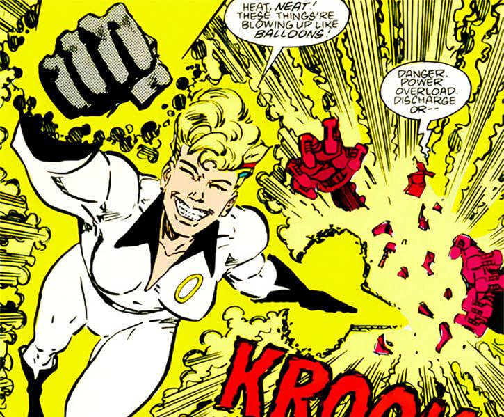 Halo (DC Comics) (Gabrielle Doe) (Outsiders) blasting robots yellow aura