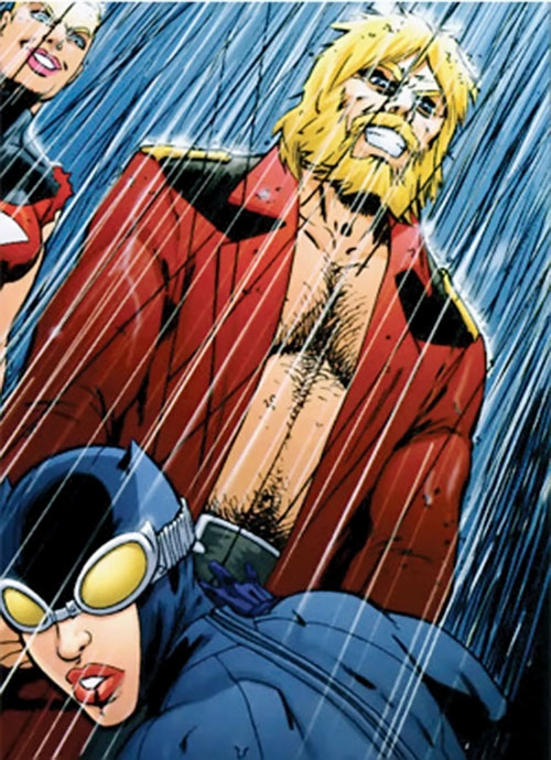 Hammer of the People's Heroes (DC Comics) looking crazy under the rain