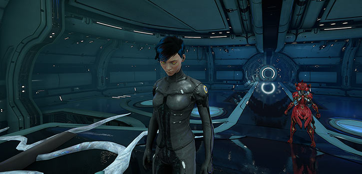 Hammerfall - Warframe - Example tenno character - Pod room head down