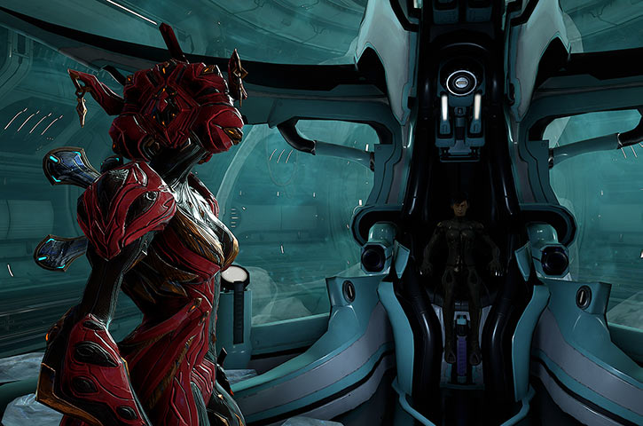 Hammerfall - Warframe - Example tenno character - In pod with a Khora