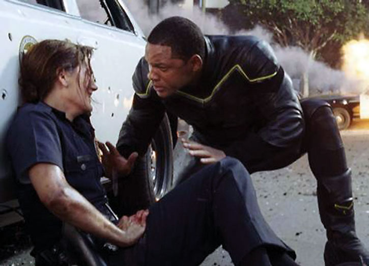 Hancock (Will Smith) assists a wounded officer