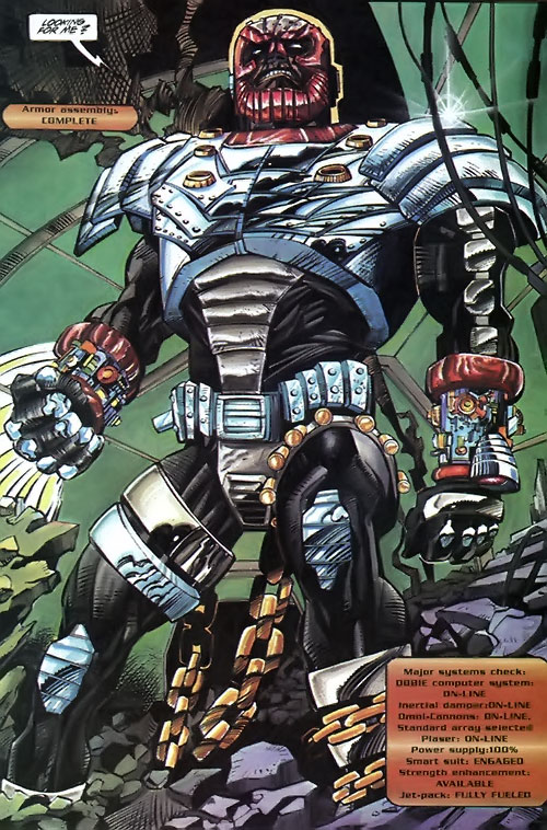 Hardware (Milestone Comics) among wreckage, system check