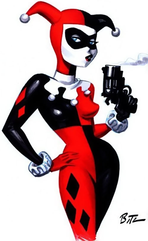 Harley Quinn (Early) blowing the smoke off her gun