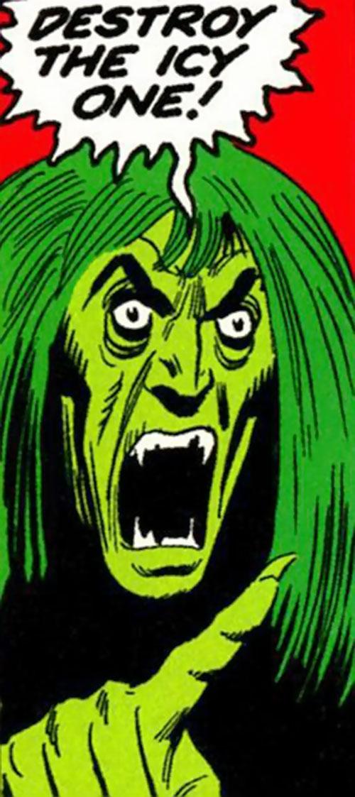 Harpy (Champions enemies) (Marvel Comics) screaming about Iceman