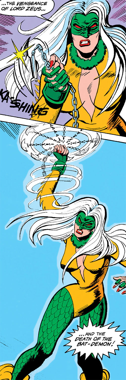 Harpy (Batman enemy) (Maxie Zeus) (DC Comics) using her weapons
