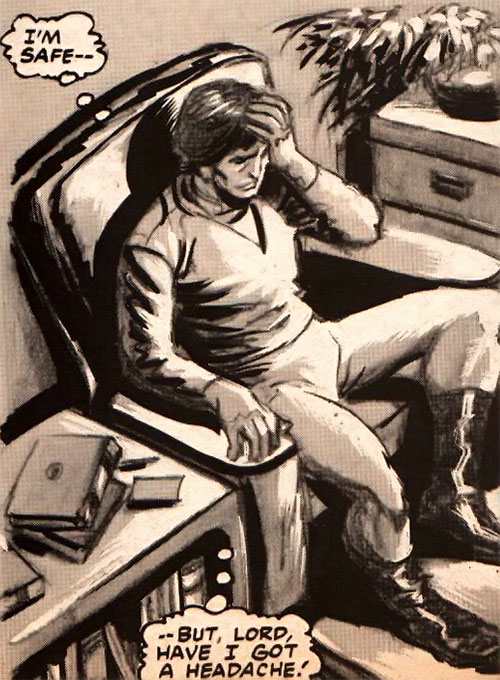 Harry Pitzer (Marvel Comics) (Worlds Enough) sitting with a headache