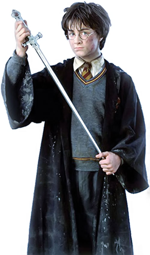 Harry Potter (Daniel Radcliffe in HP and the Chamber of Secrets) with a sword
