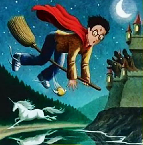 Drawing of a young Harry Potter flying on a broom
