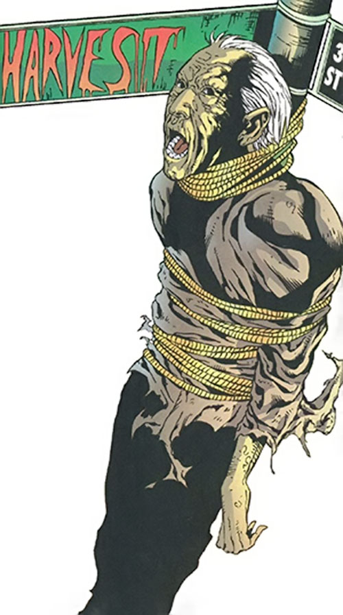 Harvest (Birds of Prey character) (DC Comics) victim tied to a street sign