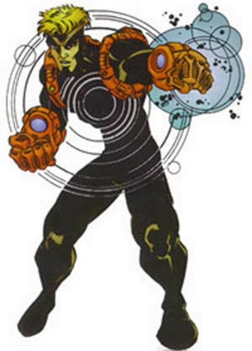 Havok of the X-Men and X-Factor (Marvel Comics) with the black costume and red gauntlets