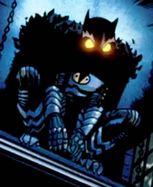 Hawk Owl (Ultimate Marvel Comics) on a rooftop with eyes glowing