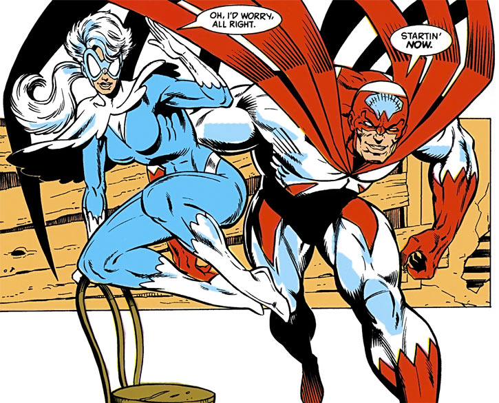 Hawk and Dove (DC Comics, 1989) attacking