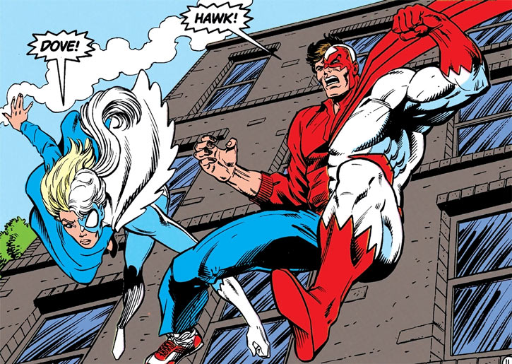 Hawk and Dove (DC Comics 1989) transforming in mid-leap