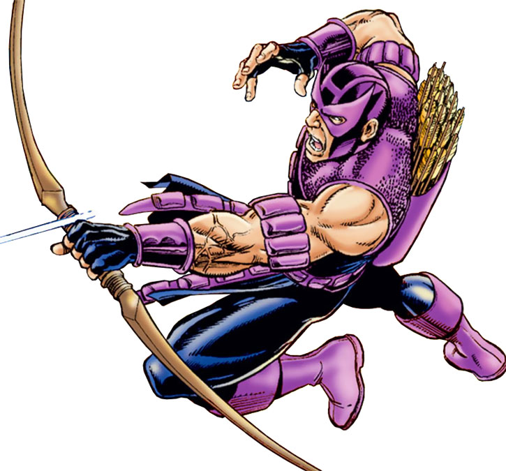 Hawkeye (Clint Barton) leaps and shoots