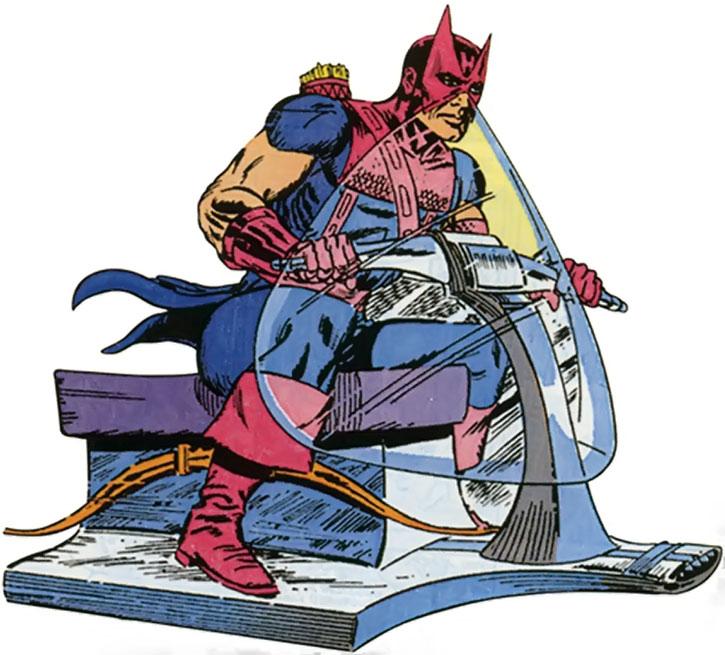 Hawkeye (Clint Barton) on a skycycle