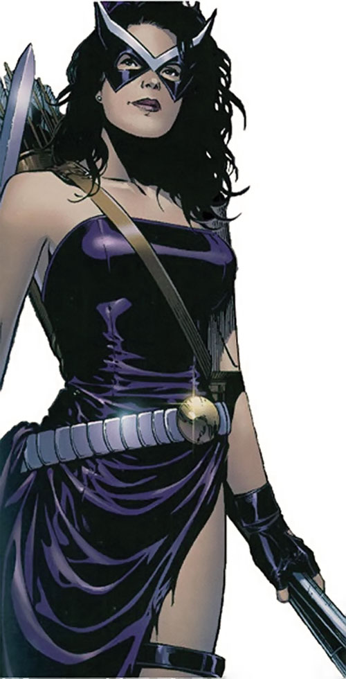 Hawkeye of the Young Avengers (Kate Bishop) (Marvel Comics) with a shredded deep purple dress