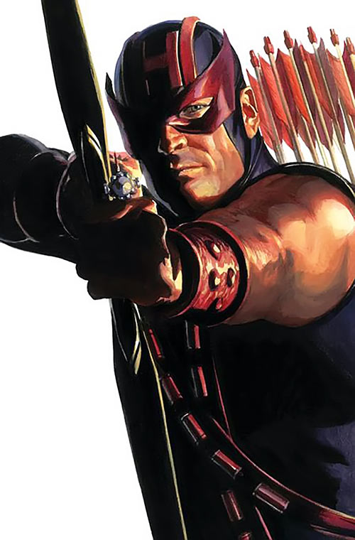 Hawkeye (Marvel Comics) (Clint Barton) by Alex Ross, aiming arrow, half-shadowed