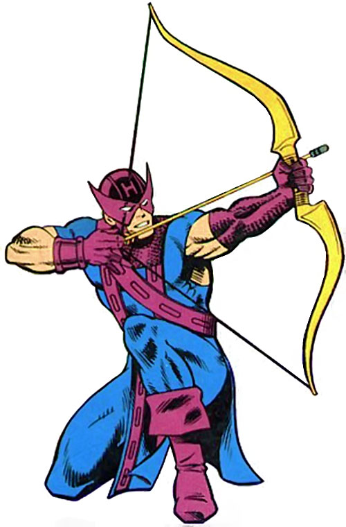 Hawkeye (Marvel Comics) drawing his bow while crouching