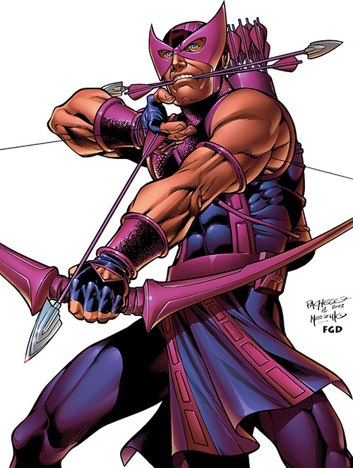 Hawkeye (Marvel Comics) holding arrows ready in his mouth, by Carlos Pacheco
