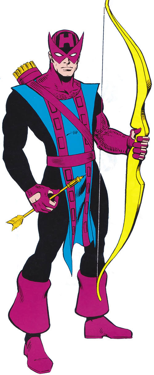 Hawkeye from the 1983 Official Marvel Comics Handbook