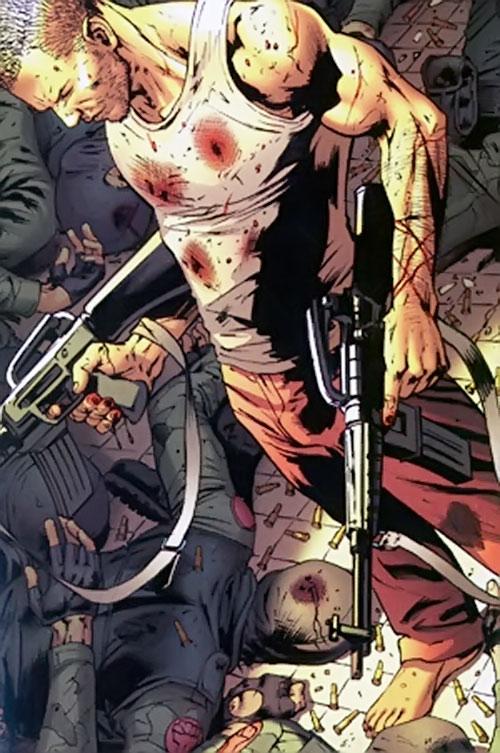 Ultimate Hawkeye (Marvel Comics) dual-wielding assault rifles