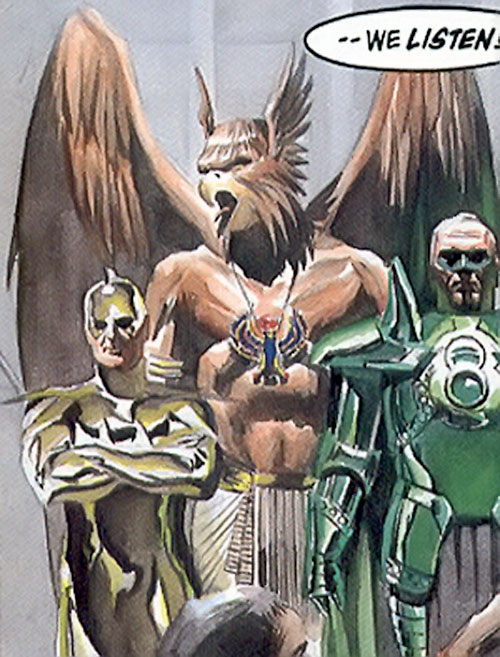 Hawkman (Kingdom Come) with the Ray and Green Lantern