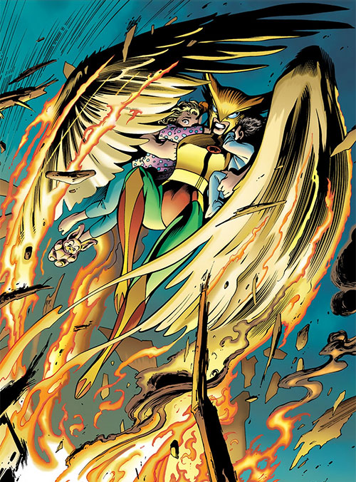 Hawkwoman (The Nail version) rescues children from a fire