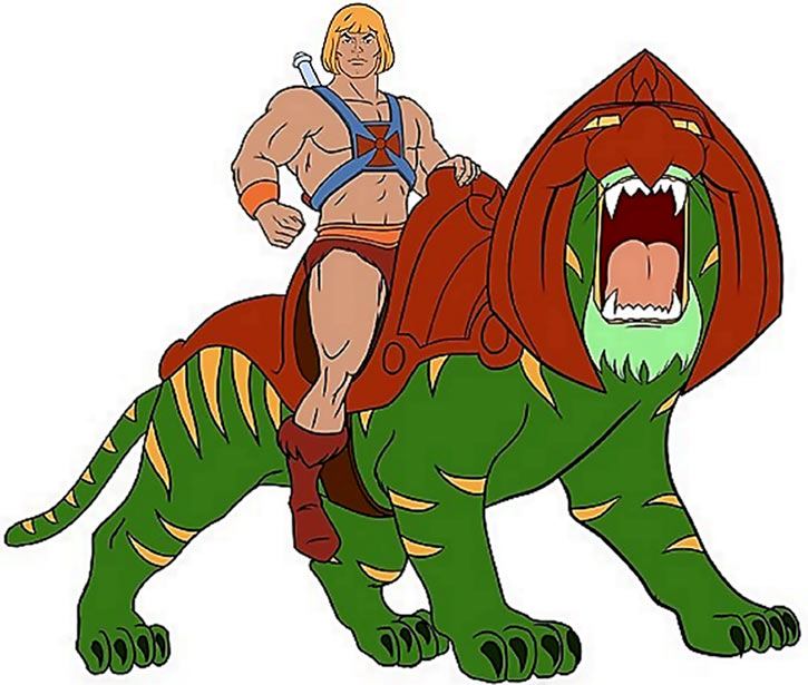 He-Man (Masters of the Universe cartoon) riding Battle Cat