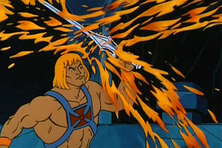He-Man (Masters of the Universe cartoon) parries flames with his sword