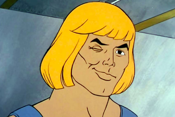 He-Man (Masters of the Universe cartoon) winks at the audience close-up