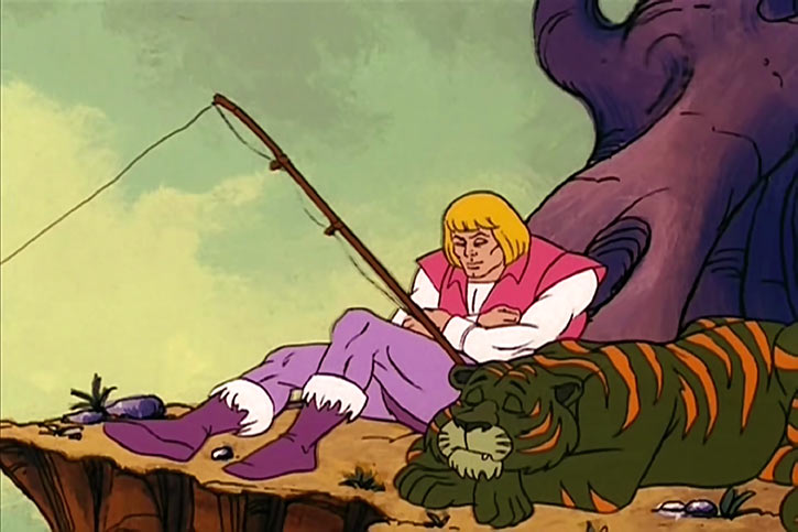 He-Man (Masters of the Universe cartoon) Prince Adam fishing with Cringer