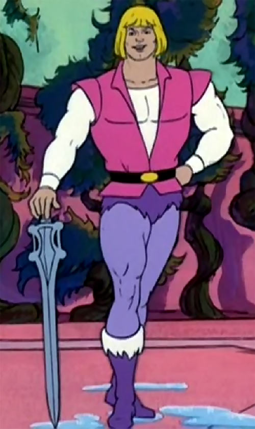 He-Man (Masters of the Universe cartoon) posing with his power sword as Prince Adam