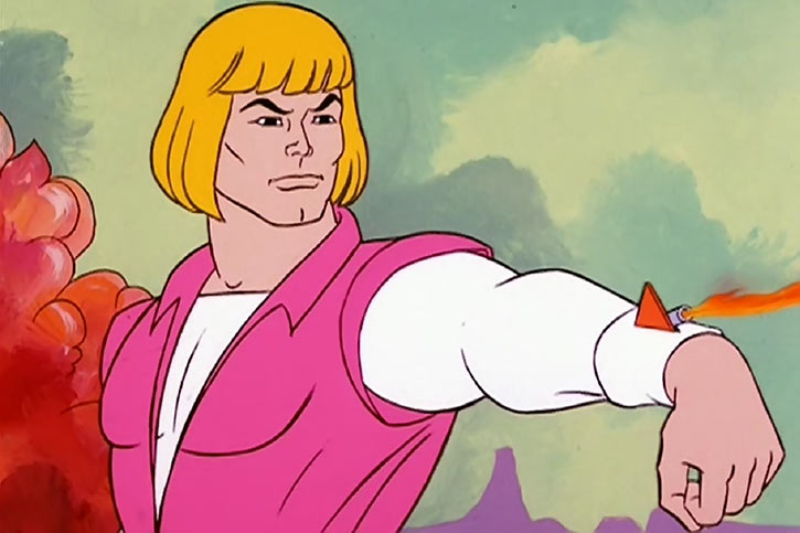 He-Man (Masters of the Universe cartoon) as Prince Adam, using a wrist beam