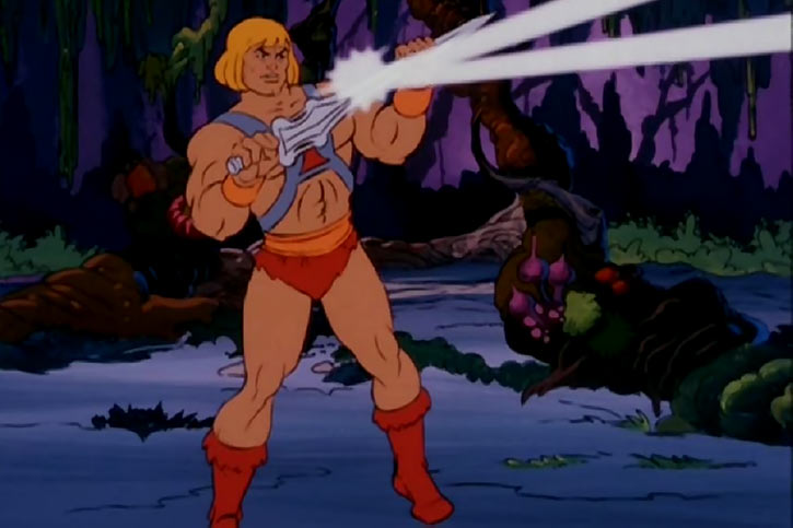 He-Man (Masters of the Universe cartoon) reflecting a beam with his power sword