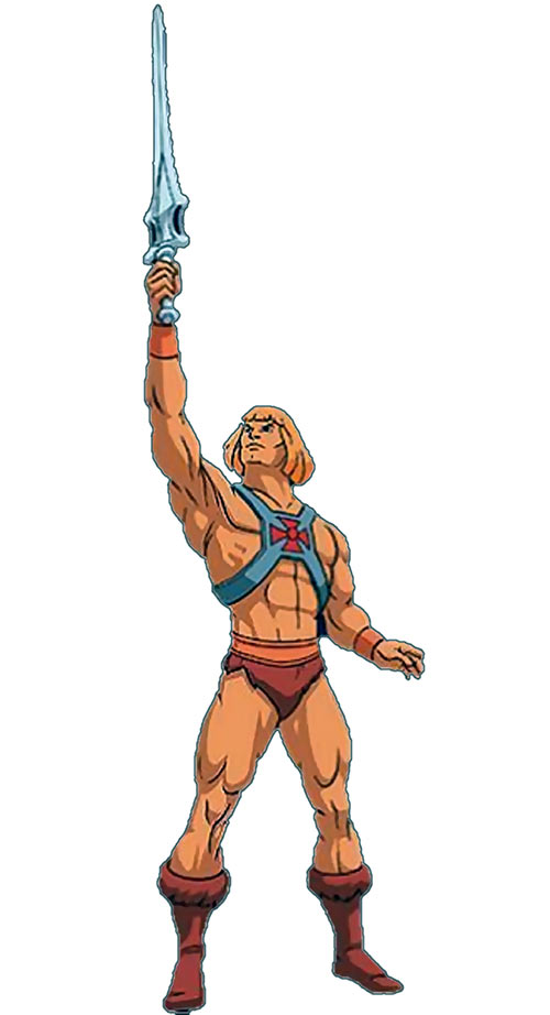 He-Man (Masters of the Universe cartoon) brandishing sword pose