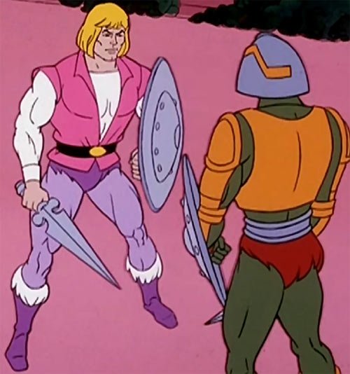 He-Man (Masters of the Universe cartoon) prince Adam training with Man at arms