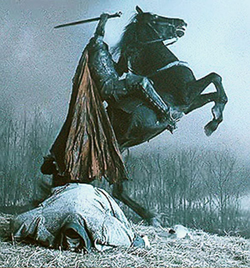 The Headless Horseman rides and kills in Burton's Sleepy Hollow