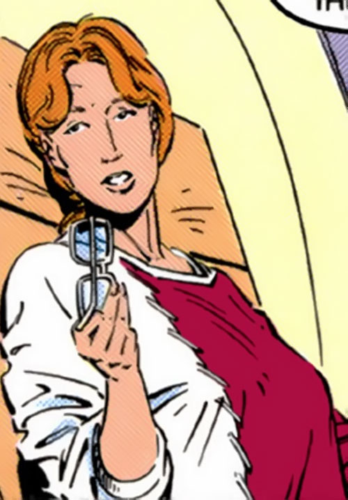 Heather Hudson (Alpha Flight) (Marvel Comics) on an airplane seat