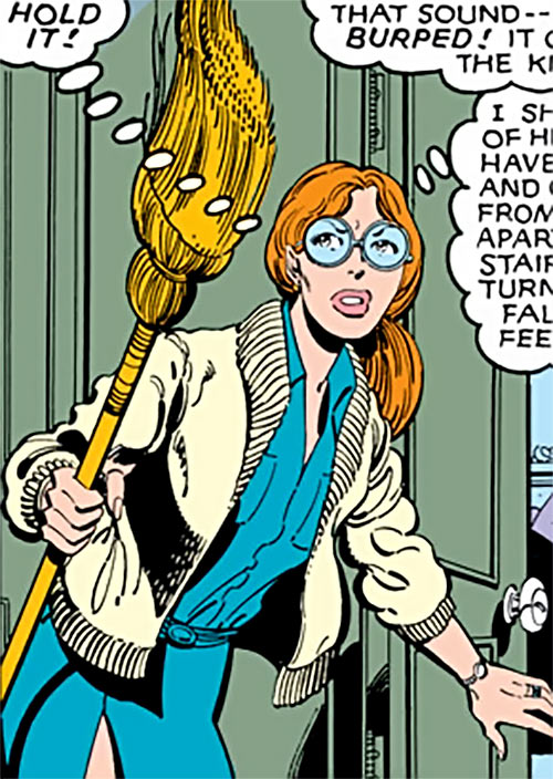 Heather Hudson (Alpha Flight) (Marvel Comics) armed with a broom
