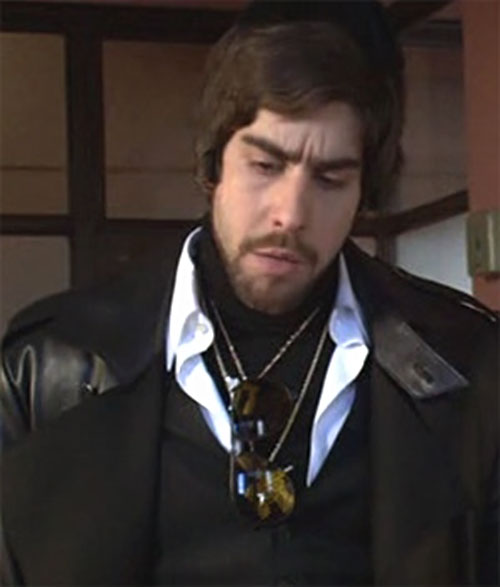 Mordechai Carver the Hebrew Hammer (Adam Goldberg) with a brown leather coat