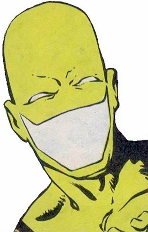 The Heckler (DC Comics) mask closeup