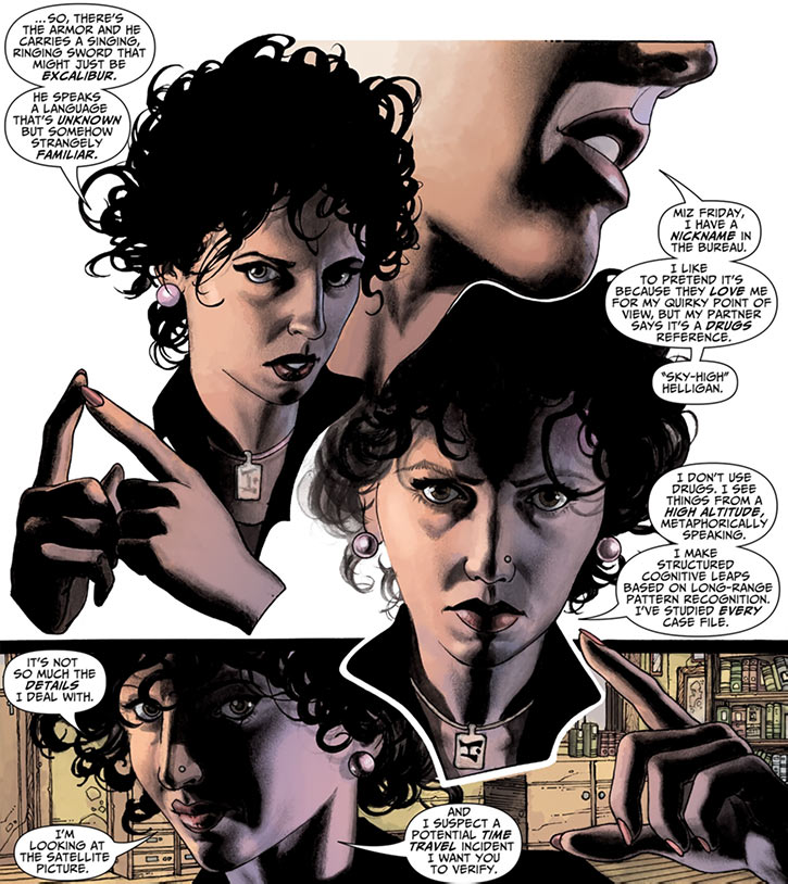 Agent Helen Helligan (7 Soldiers) (DC Comics) explaining stuff